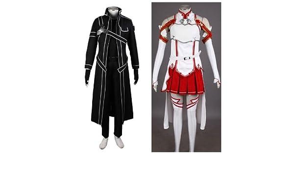 Espada De Arte En línea SAO Kirito y traje de cosplay Asuna Xcoser ...