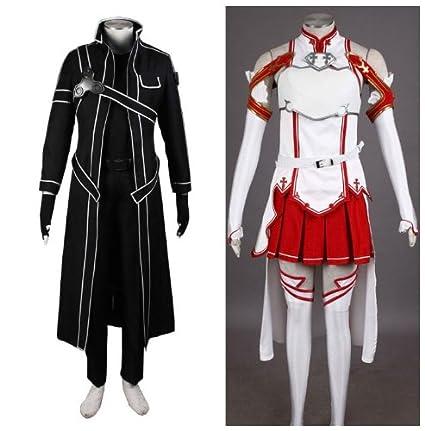 Espada De Arte En línea SAO Kirito y traje de cosplay Asuna ...