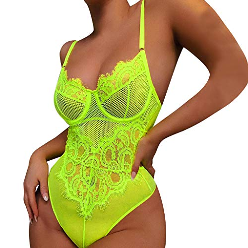 Women Sexy One-Piece Lingerie V Neck Strap Open Back Jumpsuit Teddies Lace Mesh Eyelash Babydoll Bodysuit (S, Green)