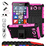 Microsoft Lumia 950 Case,Mama Mouth Shockproof Heavy Duty Combo Hybrid Rugged Dual Layer Grip Cover with Kickstand For Microsoft Lumia 950 (With 4 in 1 Free Gift Packaged),Pink