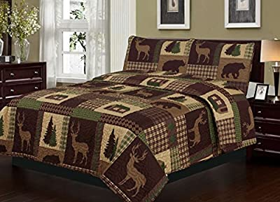 Quilt 2 or 3 Piece Set Rustic Cabin Lodge Deer and Bear Coverlet Bedspread
