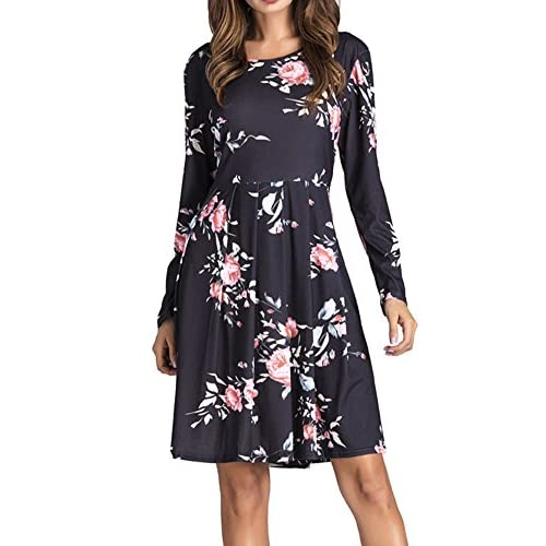 bcaf5953 Yomoko Women's Long Sleeve Casual Dress With Floral Print Pleated Below  Loose Swing Tunic T-