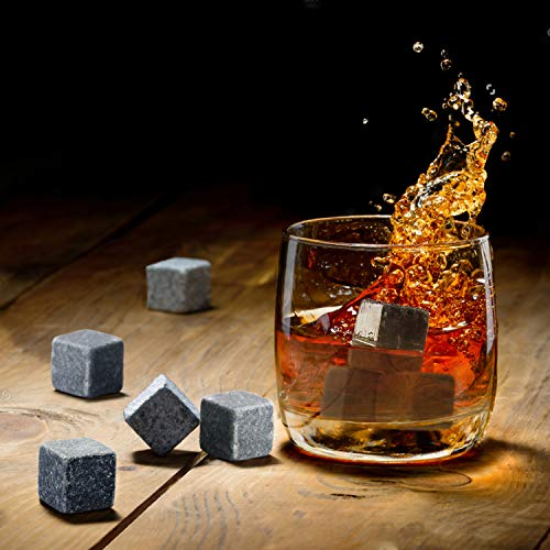 MAKHISTORY Whiskey Stones Gift Set - 9 Granite Chilling Whiskey Rocks - Velvet Storage Pouch and Stainless steel Tong in Wooden Gift Box | Perfect Gift for Men Him Dad Boyfriend (Gift Set)