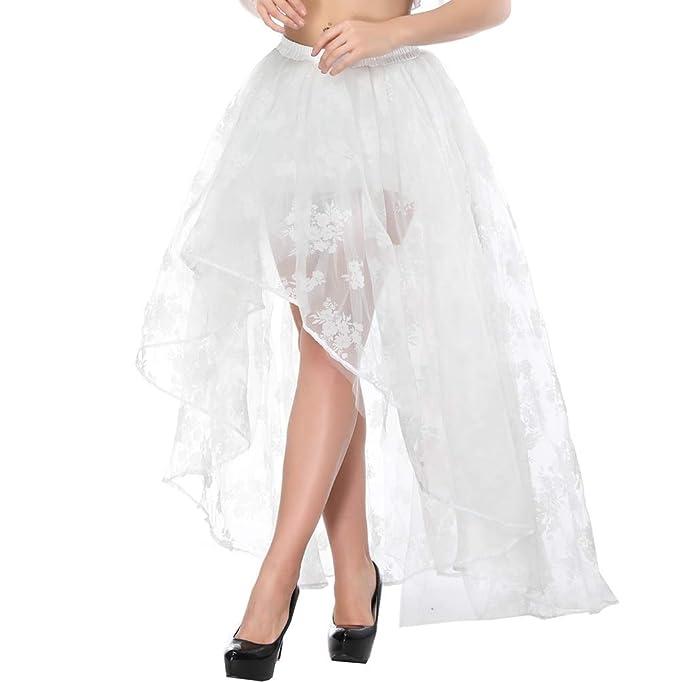 15b415bf7a Zooma Falda Asimétrica para Mujer Vintage con Volante Gitana Estilo Gótico  Irregular  Amazon.es  Ropa y accesorios