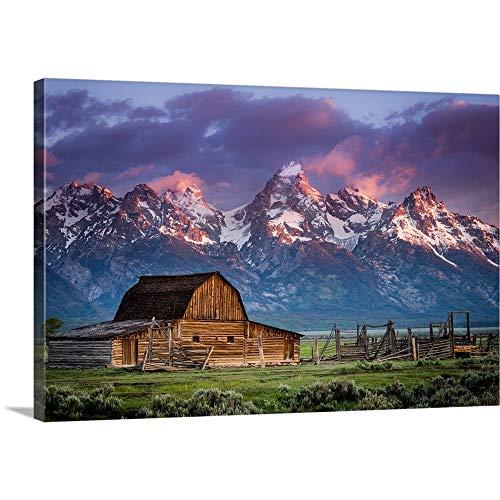 Sun Rises Over Mormon Barn, Grand Teton National Park, Wyoming Canvas Wall Art Print, 36