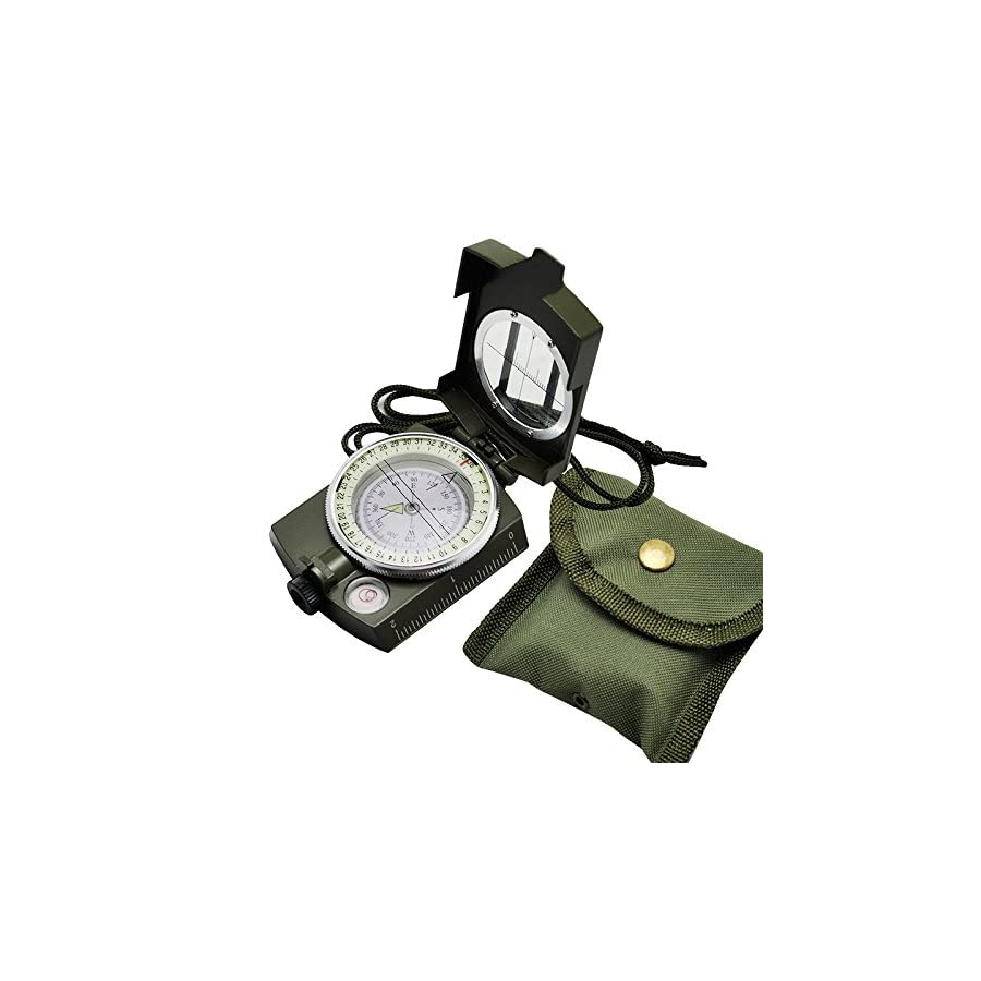 Carejoy Hiking Compass Portable Military Army Geology Compass Multifunctional Outdoor Camping Exploration Tool with Fluorescent Light