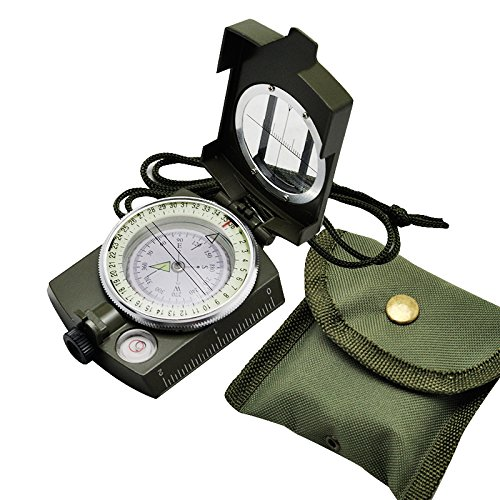 Carejoy Hiking Compass Portable Military Army Geology Compass Multifunctional Outdoor Camping Exploration Tool with Fluorescent Light by Carejoy