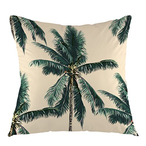 (oFloral Palm Tree Throw Pillow Cover Square Cushion Case for Couch Sofa Home Bedroom Living Room Decorative Pillow Sham 18 x 18 Inch)