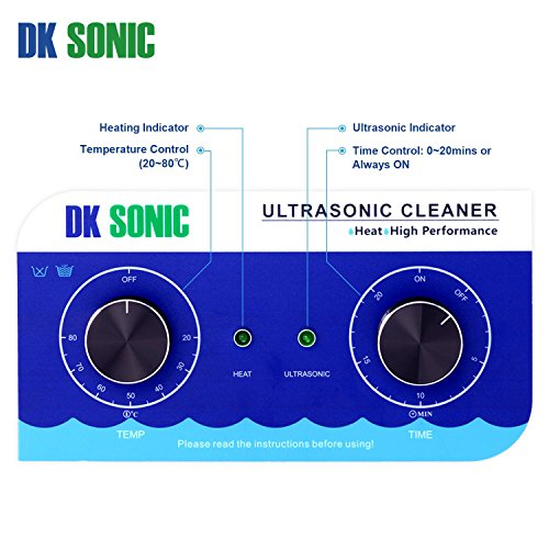 Large Ultrasonic Gun Cleaner Heated - DK SONIC 6L 180W Ultrasonic Parts Cleaner with Heater Basket for Retainer Jewelry Carburetor Eyeglass Ring Fuel Injector Glasses Record Circuit Board 40KHz by DK SONIC (Image #4)