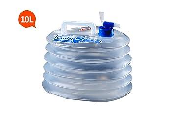 couturebr Idal® Outdoor Camping Bidón redondo plegable – Bidón de agua con grifo, 10L