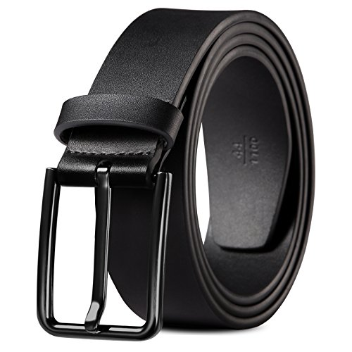 Big And Tall Belts For Men Genuine Leather Belt Black & Silver Buckle Dress All - Big Black Thick Men