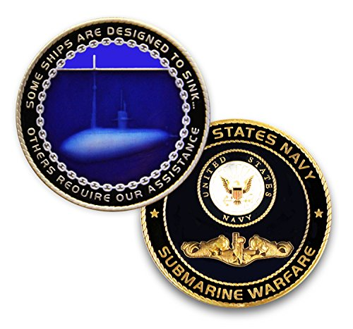 Coins For Anything Inc Navy Submarine Challenge Coin - Submariner Warfare - Design Officially Licensed Under U.S. Navy Military Challenge Coin! Designed by Military Veterans!