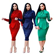 VERTTOP Double-Layered Tie Neck Plain Long Sleeve Warm Women's Bodycon Dress Midi Dress for Party, Cocktail,Club Casual Dress
