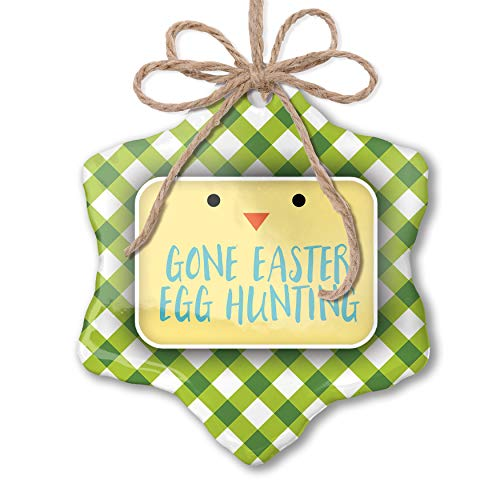 Chick Gone Green - NEONBLOND Christmas Ornament Gone Easter Egg Hunting Easter Chick Face Green Plaid