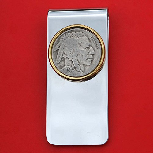 US 1934 Indian Head Buffalo Nickel 5 Cent Coin Solid Brass Gold Silver Two Tone Money Clip New - High Quality