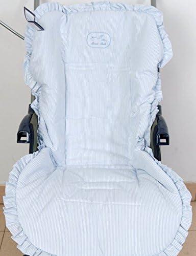 Colchoneta para silla de paseo universal rayas celeste. Funda silla de coche. Mundi Bebé.: Amazon.es: Bebé