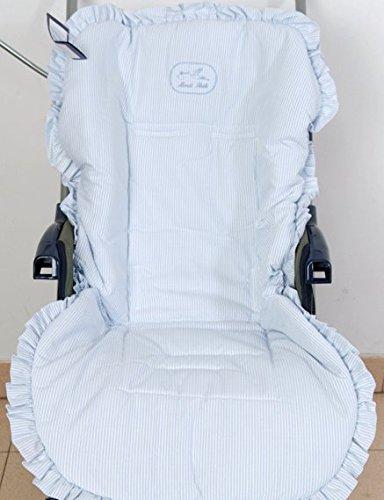 Colchoneta para silla de paseo universal rayas celeste. Funda silla de coche. Mundi Bebé.