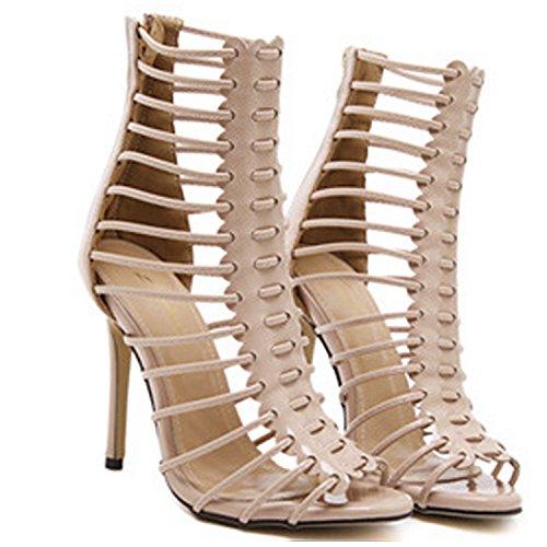 D2c Bellezza Donna Strappy Gladiatore Scarpe Da Sposa Peep Toe Sandali Tacco Alto A Spillo Nero