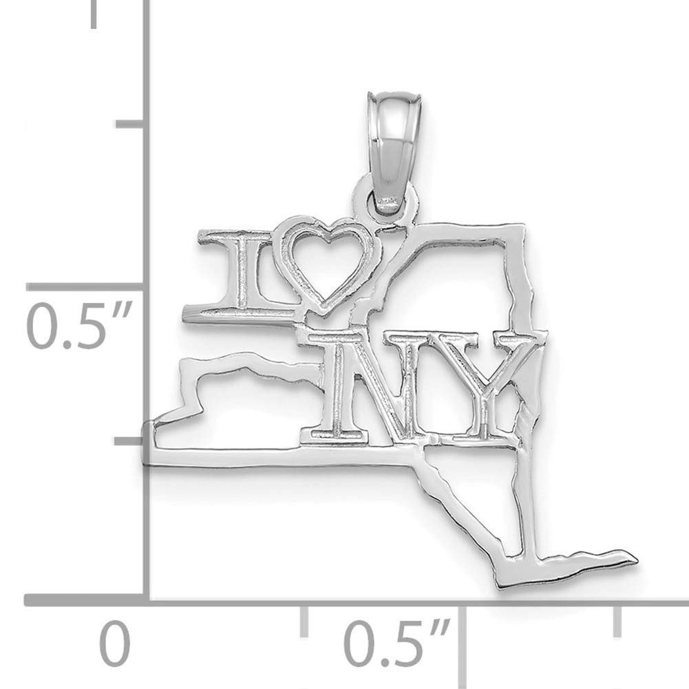 Lex /& Lu 14k White Gold Solid New York State Pendant