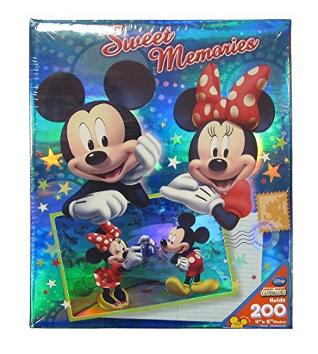 Disney Mickey Minnie Mouse 'Sweet Memories Postcard' 4X6 200 Page Photo Album