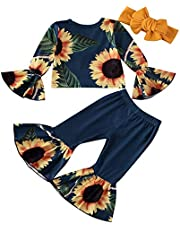 Toddler Girl Long Sleeve Shirt +Flare Pants Leopard Pants Sets for Litter Girl Bell Bottom Leggings Set Sunflower