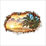 Amaonm® 24''x36'' Giant 3D Sunshine Beach Through The Wall Dusk Coco Natural Scenery Wall Decals Wall Stickers Murals Decor for Offices Classroom Bedroom Livingroom Background