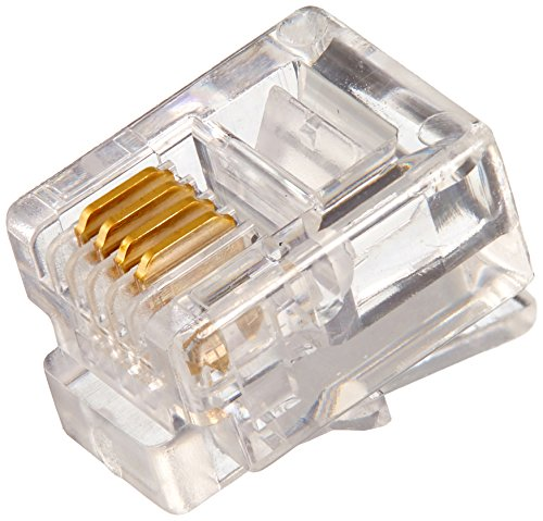 - C2G 27561 RJ11 6x4 Modular Plug for Round Solid Cable Multipack (25 Pack) Clear