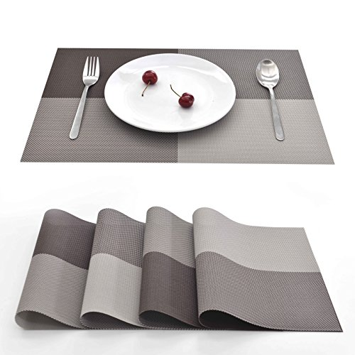 EJIAS PVC Placemats Table Mat – Set of 4 Classical Checked PVC Place Mats for Dining Room Washable PVC Table Mats for Kitchen Room Water Resistant Heat Resistant Mats 18X12 Inch (Coffee Check)