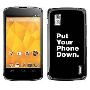 Paccase / SLIM PC / Aliminium Casa Carcasa Funda Case Cover - Phone Down Life Focus Quote - LG Google Nexus 4 E960