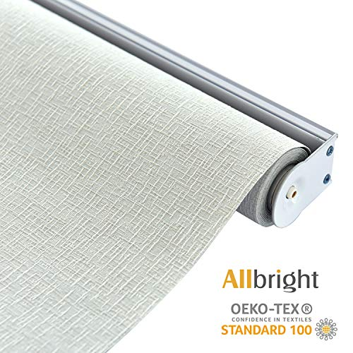 - ALLBRIGHT Thermal Insulated Fabric 100% Blackout UV Protection Rialto Emboss Cordless Roller Shades for Windows, Easy to Install, White, 47''W x 72''H