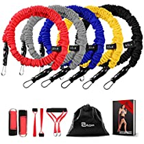 Resistance Bands Set, Polygon Upgraded Resistance Tubes with Anti-Snap Heavy Duty Protective Nylon Sleeves, 11 Pieces include 5 Stackable Exercise Bands, 2 Door Anchors, 2 Legs Ankle Straps, 2 Foam Handles