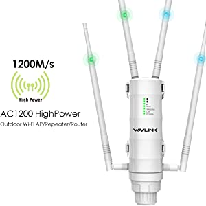 WAVLINK High Power Long Range Outdoor Wireless Access Point Weatherproof Dual Band 2.4+5G 1200Mbps Wi-Fi AP/WiFi Extender/Router 3 in 1, POE, Gigabit Port, No WiFi Dead Zones for Working from Home