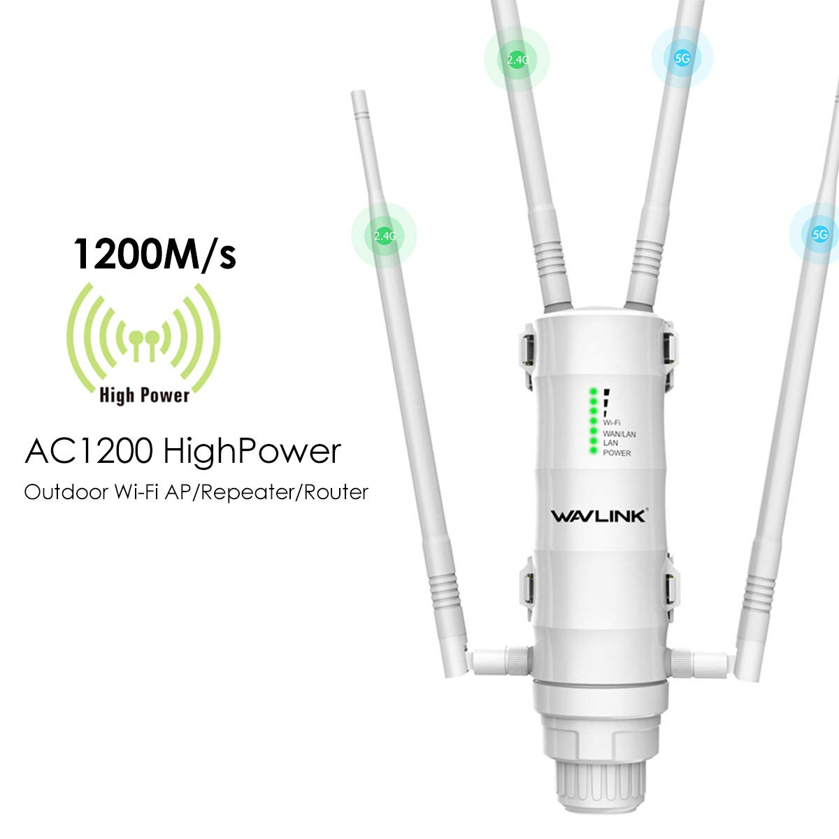 WAVLINK Aerial HD4 AC1200 High Power Long Range Outdoor Wireless Access Point Weatherproof Dual Band 2.4+5G 1200Mbps Wi-Fi AP/WiFi Extender/Router 3 in 1 with PoE, Gigabit Port by WAVLINK
