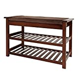 UNICOO - Antique Style Bamboo Shoe Bench Rack with Cushion Upholstered Padded Seat Storage Shelf Bench, 2-Tier Shoe Rack Entryway Shoe Storage Organizer (Antique Brown - 2TSB)