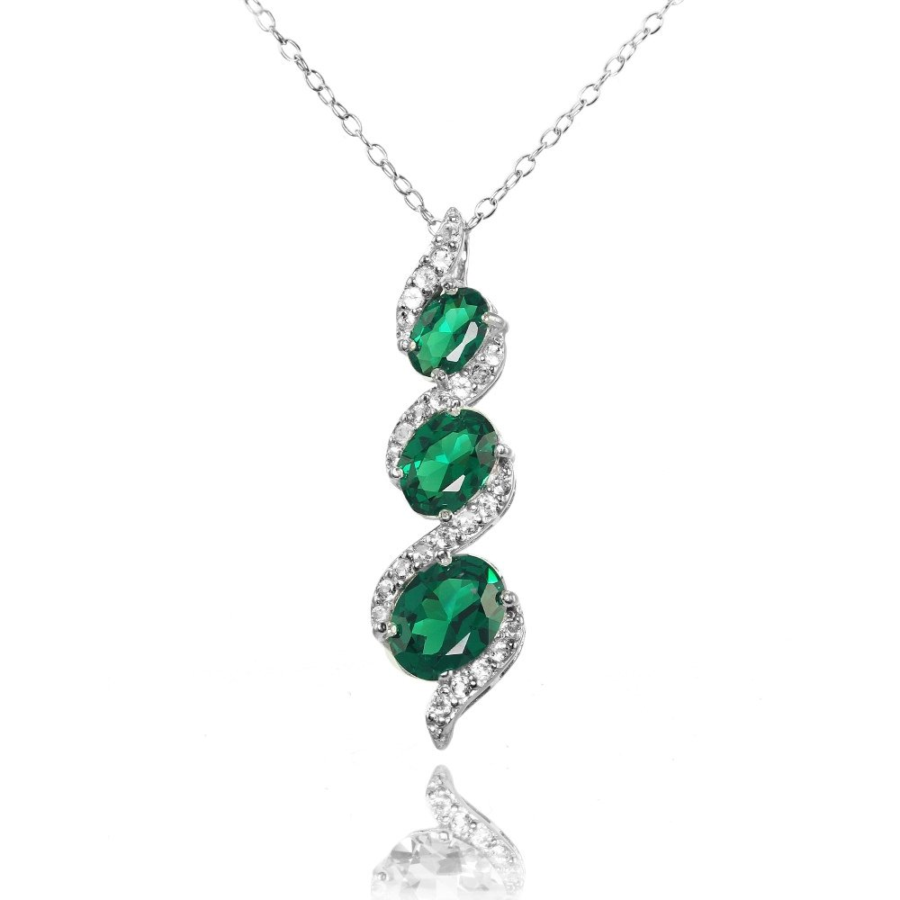 Ice Gems Sterling Silver Simulated Emerald and