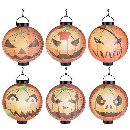 LED Pumpkin Paper Lanterns Party Decorations Lights for Holiday Party Decoration 6 Pack