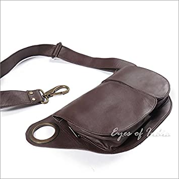 5c0812cbe4f7 Eyes of India - Brown Leather Belt Waist Bum Hip Pouch Bag Utility Fanny  Pack Pocket Travel