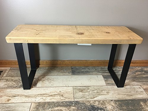 Reclaimed Urban Wood Bench Made From Salvaged Barn Wood - Flat Steel Legs - Natural Finish | FREE SHIPPING