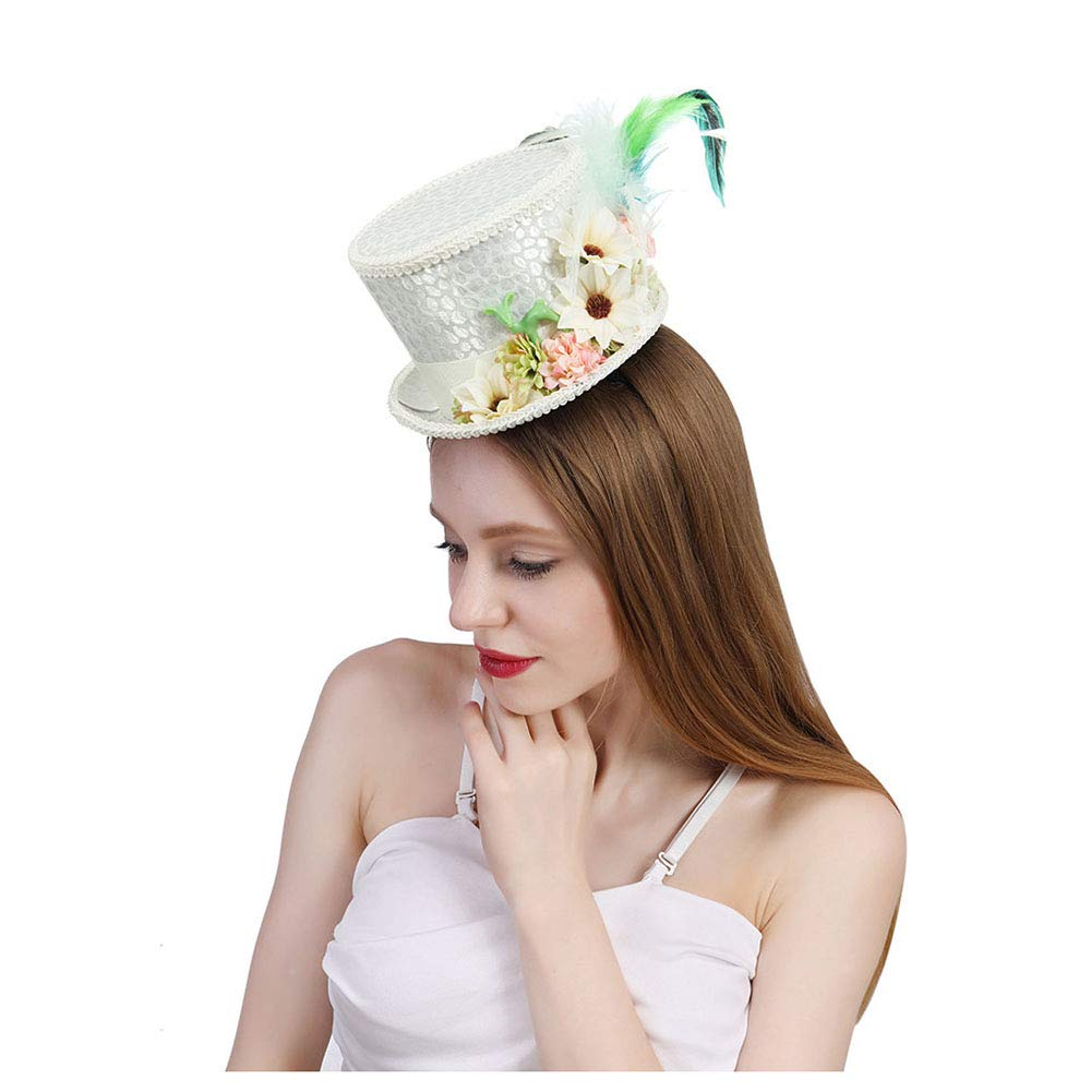 LL Women's White Mini Top Hat Tea Hat Mad Hatter Tea hat, Bridal Hat, Kentucky Derby hat (Color : White, Size : 25-30cm) by LL (Image #2)