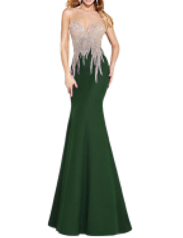 OYISHA Womens Scoop Neck Mermaid Prom Dress Long Bead Wedding Evening Gown EV135 Dark Green 10