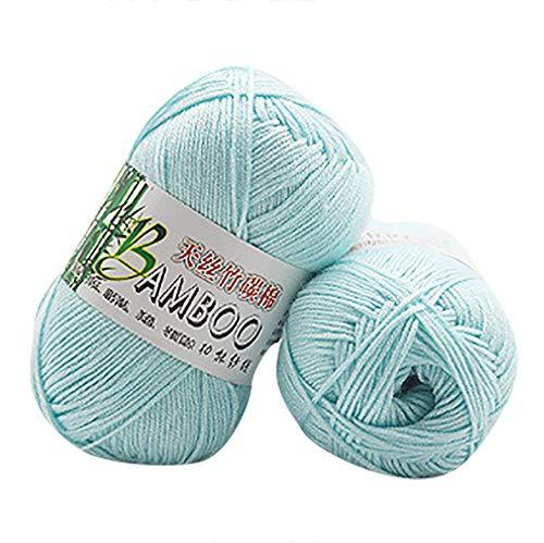 New Wool Sock Yarn - Ecosin Luxuriously Soft for Knitting, New 100% Bamboo CottonKnitting Crochet Soft Baby Cotton Wool Yarn (C)