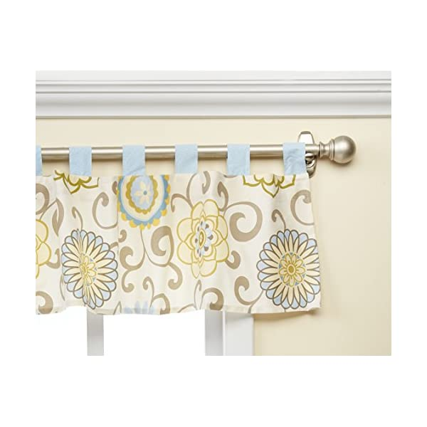 Trend Lab Waverly Baby Pom Pom Spa Window Valance, Blue/Cream/Green/Gray