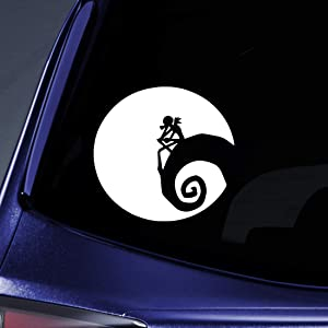 "Bargain Max Decals - Jack Nightmare Before Christmas Moon Sticker Decal Notebook Car Laptop 5"" (White)"