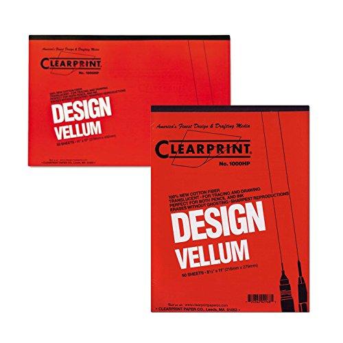 Clearprint Design Vellum Paper 16lb White 11 x 17 50 Sheets/Pad with Clearprint Design Vellum Paper-16lb White 8-1/2 x 11 50 Sheets/Pad