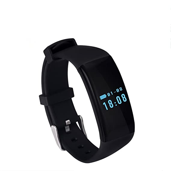 4afd76ccbcb6 Fashion pulsómetro reloj inteligente deporte pulsera impermeable Bluetooth  Fitness Tracker llamada mensaje recordatorio SmartBand para iOS y Android  negro  ...