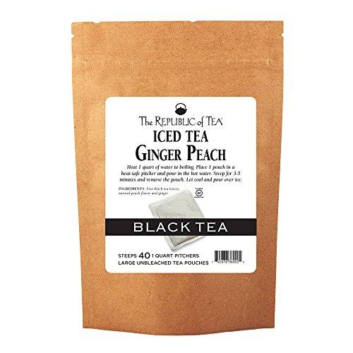 The Republic Of Tea Ginger Peach Black Iced Tea, 40 Large Iced Tea Pouches / 40 Quarts, Award-Winning Premium Black - Tea Peach Ginger Black