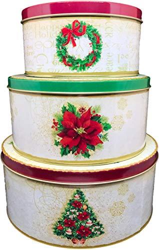ALEF Christmas/Holiday Set of 3 Decorative Nesting Tins (Round) ()