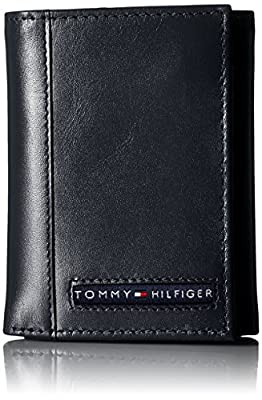 Tommy Hilfiger Trifold for Men- Wallet with Leather Credit Card Pockets and ID Window