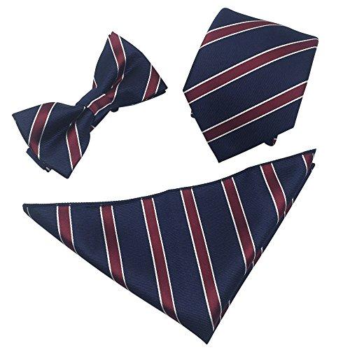Mens Polyester Skinny 2.4'' Neck Tie Pre-tied Bow Tie Pocket Square/ Handkerchief Hankie 3pcs Set (Navy Burgundy White Stripe)