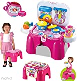 WolVol 2-in-1 Kids Kitchen Cooking Set Toy with Lights and Sounds, Folds into Sitting Step Stool (Pink)